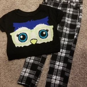 Girls Justice Owl Sweater Pants Outfit 5